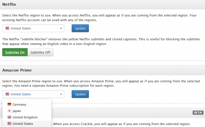 Regional settings in Getflix