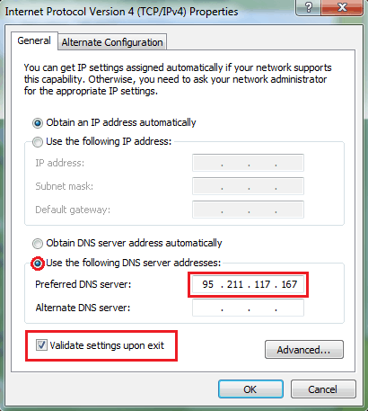 DNS address setting for Windows setup